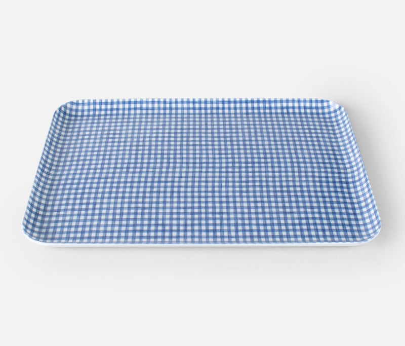 Trays Blue White Check