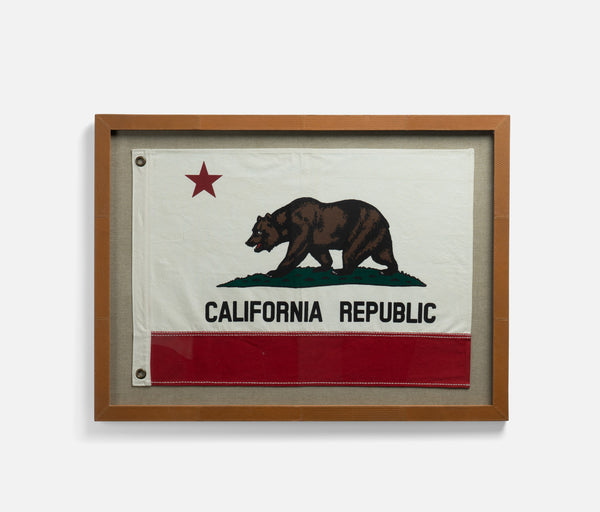 California Republic Flag with Leather Frame