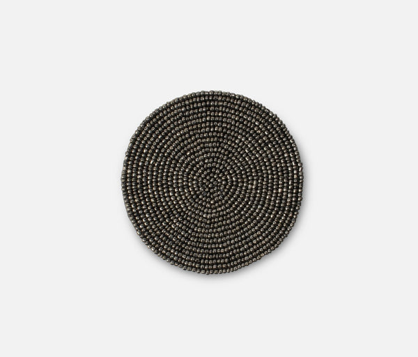Beaded Coaster - Dark Silver