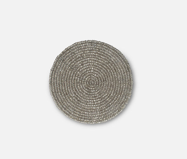 Beaded Coaster - Light Silver
