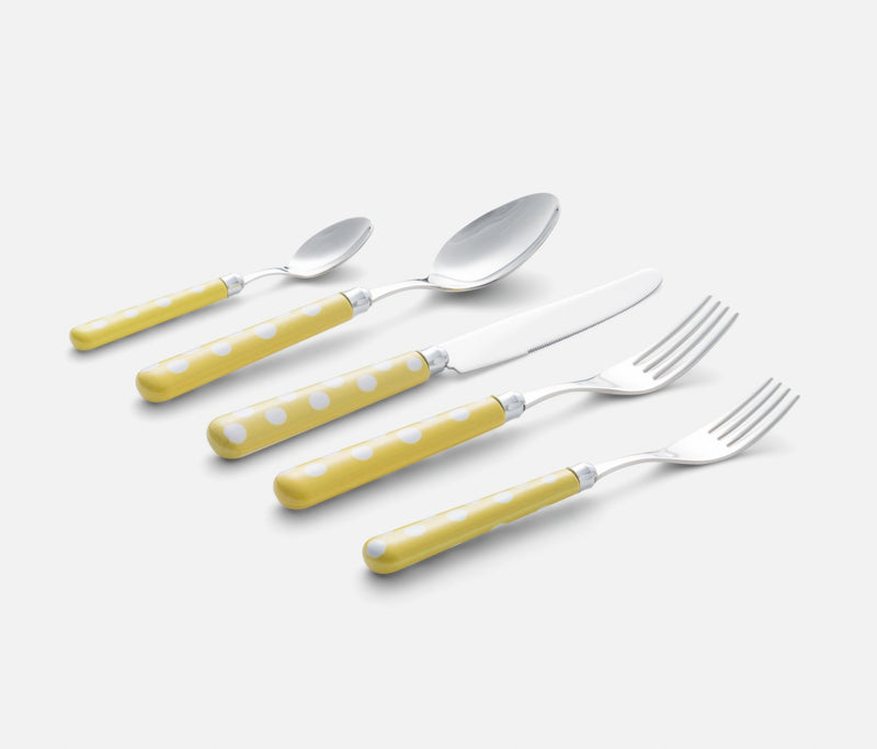 Ballon Flatware Yellow with Dots