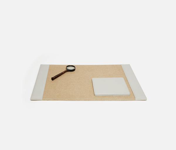 Asby Desk Collection - Light Gray Full-Grain Leather