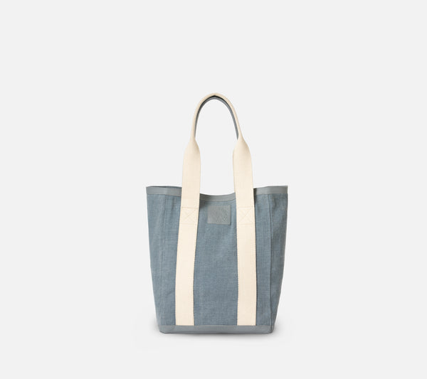Pierre Tote - Light Blue Cotton Jute/Full-Grain Leather