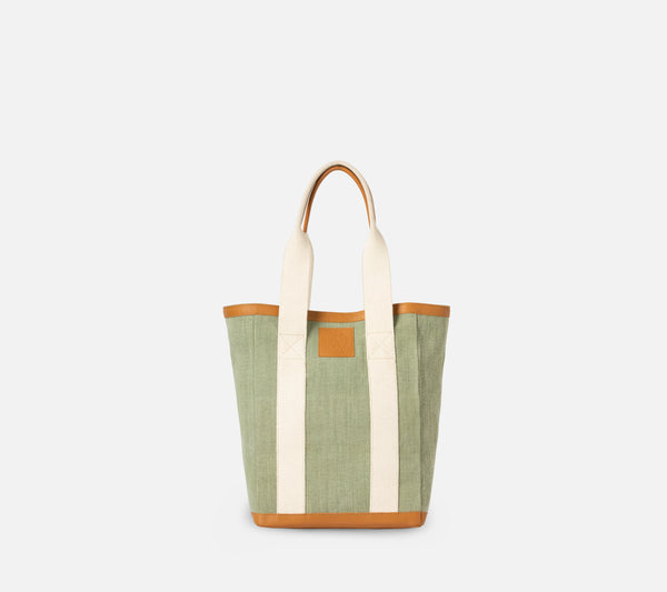 Pierre Tote - Light Green Cotton Jute/Full-Grain Leather