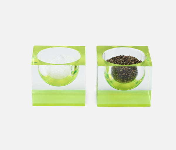 Jette Pinch Bowls - Acrylic Clear/Chartreuse