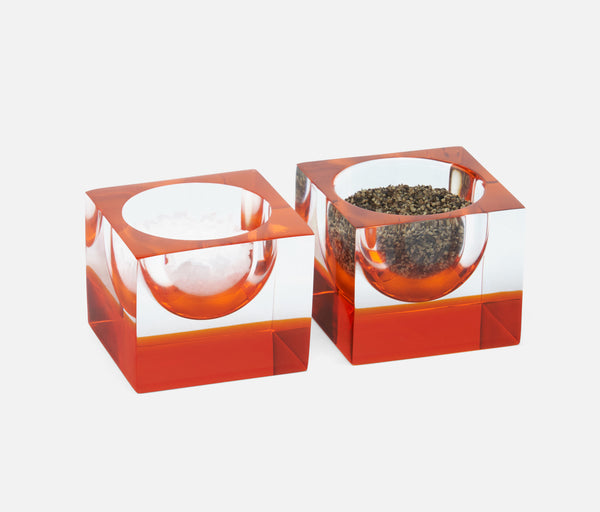 Jette Pinch Bowls - Acrylic Clear/Tangerine