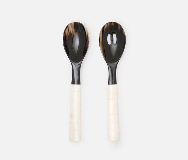 Halette 2-Piece Serving Set - Mixed Black/Natural