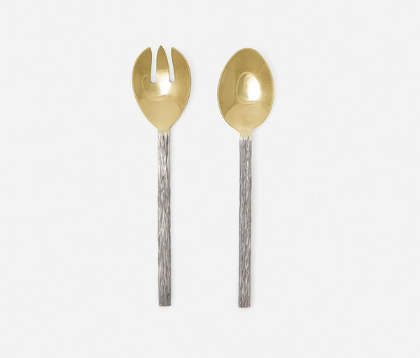Harrison 2-Piece Serving Set - Silver Faux Bois/Polished Gold