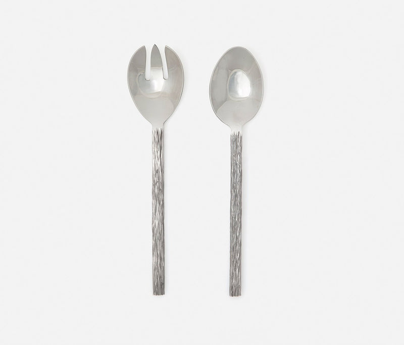 Harrison 2-Piece Serving Set - Silver Faux Bois