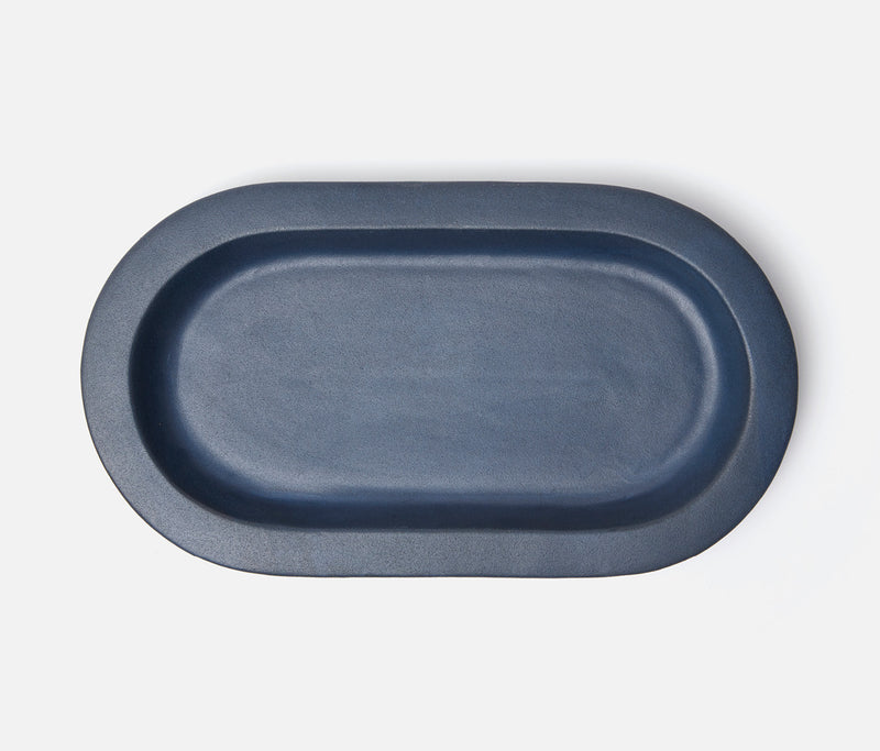 Thanos Oval Serving Platters - Matte Navy