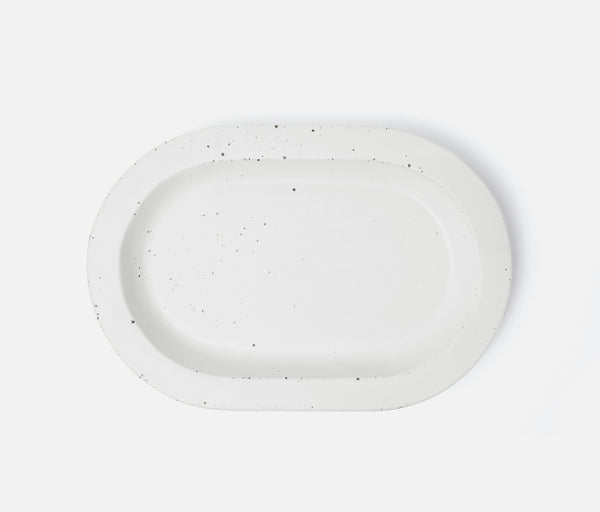Thanos Oval Serving Platters - Matte White Salt Glaze