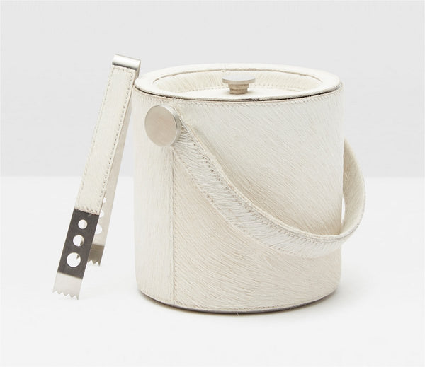 Browmley white ice bucket and tongs