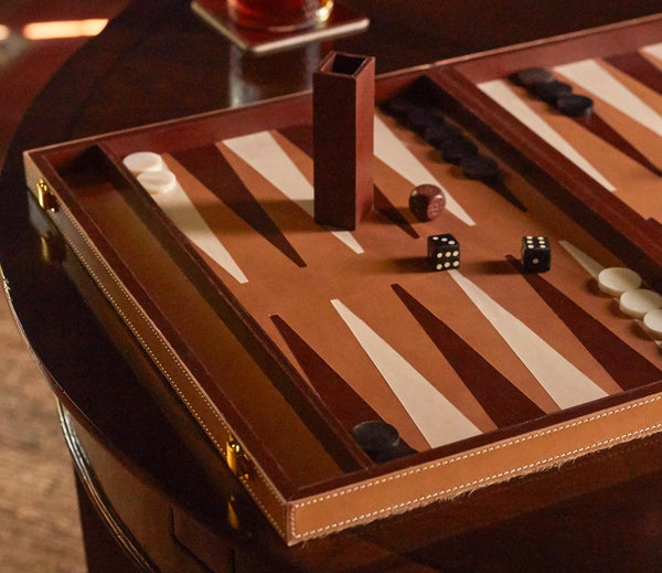 Grantham Backgammon Game Set - Beige/Aged Camel