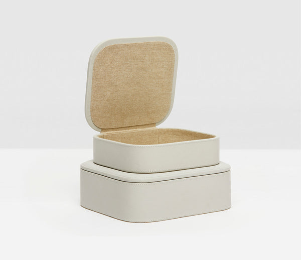 Dozza Light Gray Leather Accent Box