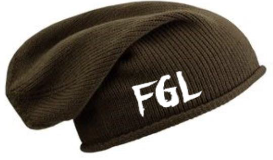 NEW!! FGL Chocolate Over-sized Embroidered Beanie