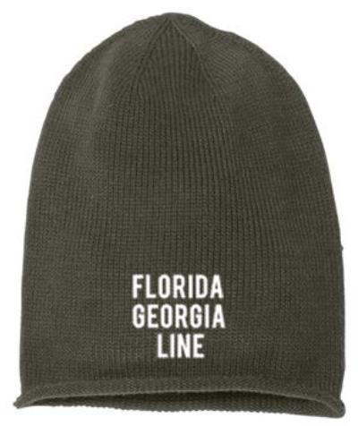 NEW!! Florida Georgia Line Stacked Over-sized Embroidered Beanie