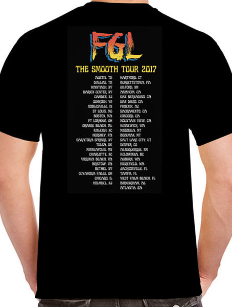 2017 Smooth Tour - Black Retro Photo Tee - Red/Yellow Print