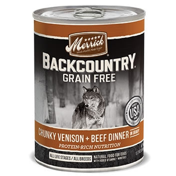 Backcountry Grain Free Chunky Venison and Beef Canned Dog Food