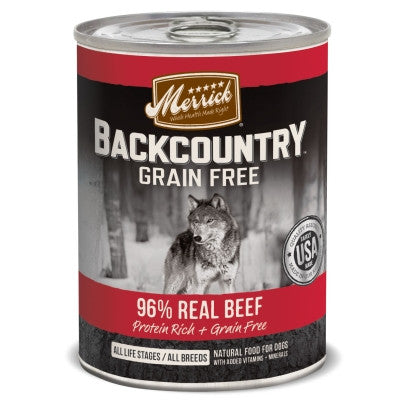 Backcountry Grain Free 96% Beef Recipe Canned Dog Food