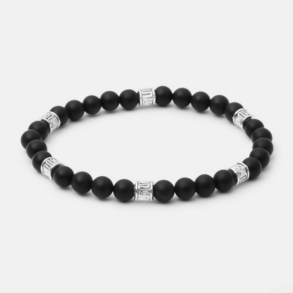 6mm Matte Onyx w/ Silver Accent - Executive Society (Beaded, leather, stainless, mens, bracelet)