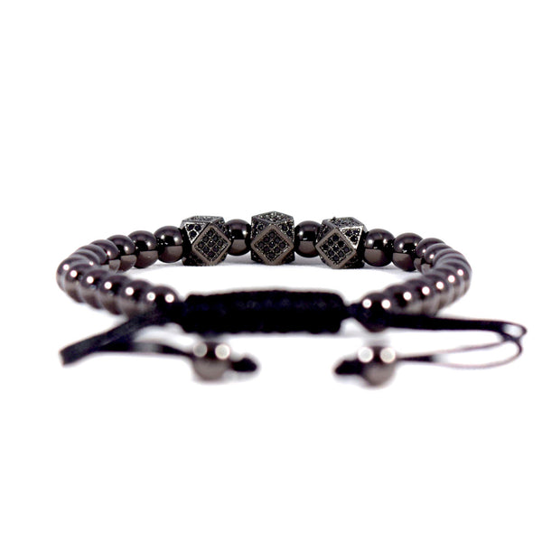 Dominance // Stainless Steel - Executive Society (Beaded, leather, stainless, mens, bracelet)