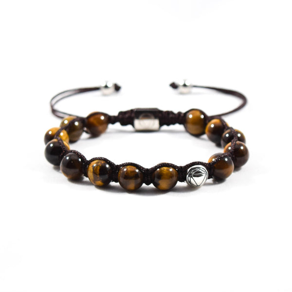 Aura // Tiger's Eye & Sterling Silver - Executive Society (Beaded, leather, stainless, mens, bracelet)