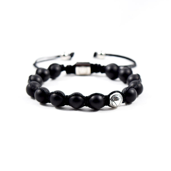 Destruction // Matte Onyx & Sterling Silver - Executive Society (Beaded, leather, stainless, mens, bracelet)