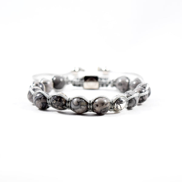 Muse // Silver Granite & Sterling Silver - Executive Society (Beaded, leather, stainless, mens, bracelet)