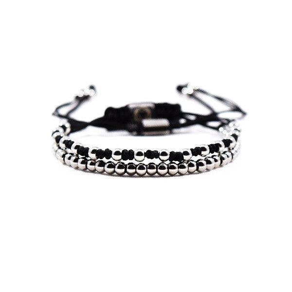 Parallel // Silver - Executive Society (Beaded, leather, stainless, mens, bracelet)