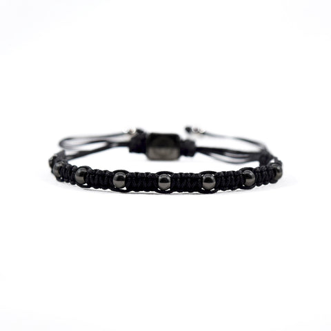 Spectrum // Black - Executive Society (Beaded, leather, stainless, mens, bracelet)