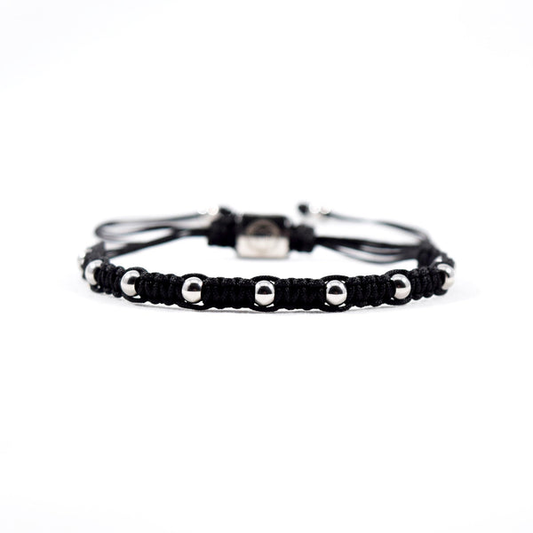 Spectrum // Silver - Executive Society (Beaded, leather, stainless, mens, bracelet)