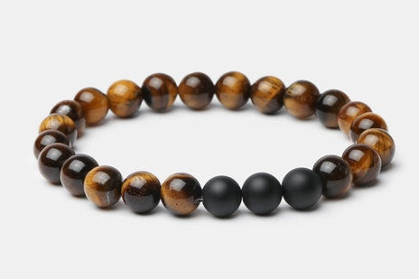 Matte Onyx/Tiger's Eye // Beaded Bracelet - Executive Society (Beaded, leather, stainless, mens, bracelet)