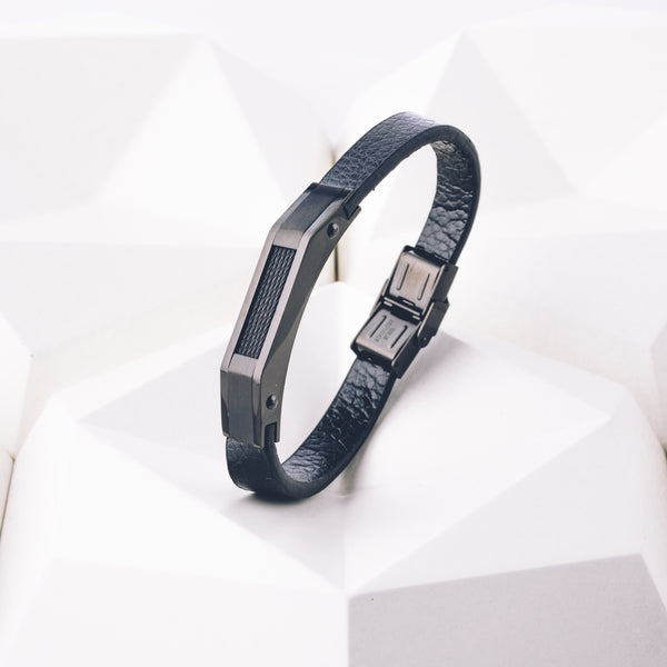 Flux - Executive Society (Beaded, leather, stainless, mens, bracelet)