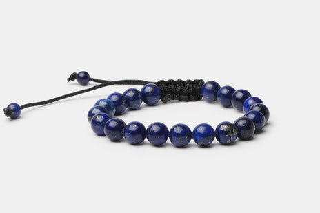 Blue Lapis Lazuli // Beaded Bracelet - Executive Society (Beaded, leather, stainless, mens, bracelet)