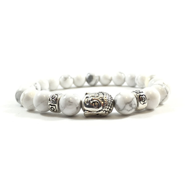 White Howlite | Silver Buddha Bracelet - Executive Society (Beaded, leather, stainless, mens, bracelet)