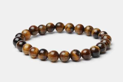 Brown Tiger's Eye // Beaded Bracelet - Executive Society (Beaded, leather, stainless, mens, bracelet)