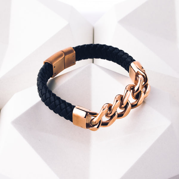 Myth (Rose Gold) - Executive Society (Beaded, leather, stainless, mens, bracelet)