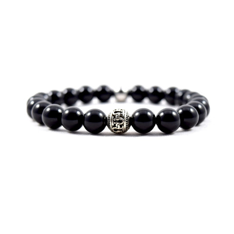 Omega Onyx Bracelet - Executive Society (Beaded, leather, stainless, mens, bracelet)