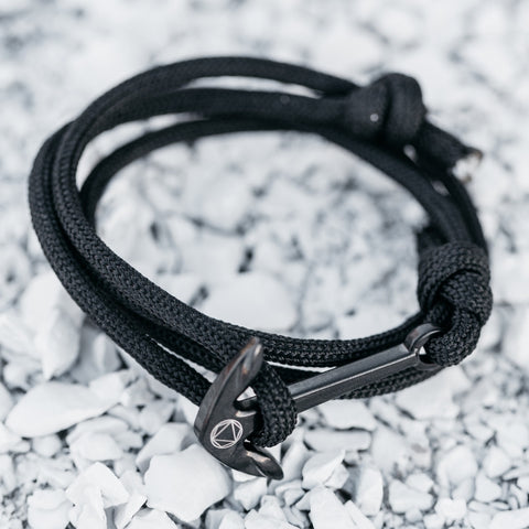 Anchor // Nylon Wrap - Executive Society (Beaded, leather, stainless, mens, bracelet)