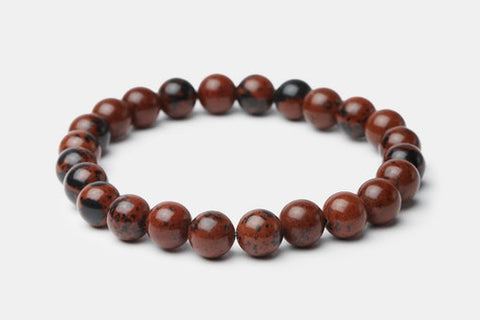 Mahogany Stone // Beaded Bracelet - Executive Society (Beaded, leather, stainless, mens, bracelet)