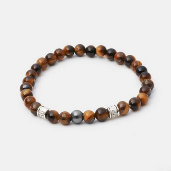 6mm Tiger Eye w/ Silver Accent - Executive Society (Beaded, leather, stainless, mens, bracelet)