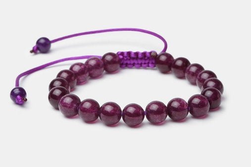 Purple Amethyst Stone // Beaded Bracelet - Executive Society (Beaded, leather, stainless, mens, bracelet)