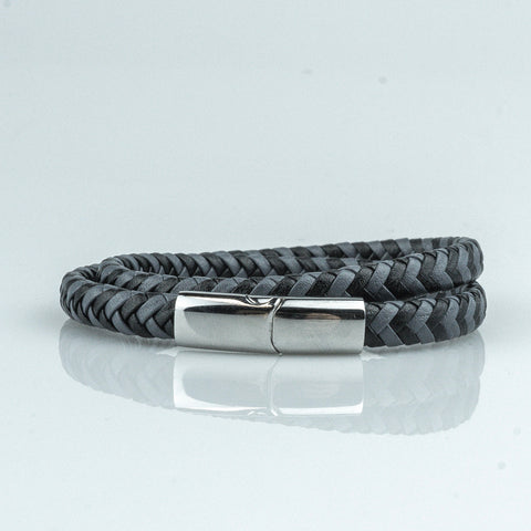 Phoenix // Braided Leather - Executive Society (Beaded, leather, stainless, mens, bracelet)