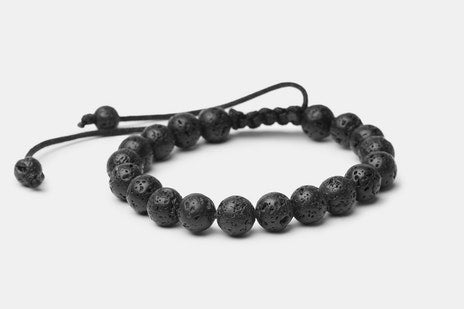 Black Lava Stone // Beaded Bracelet - Executive Society (Beaded, leather, stainless, mens, bracelet)