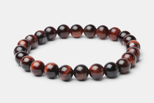 Red Tiger's Eye // Beaded Bracelet - Executive Society (Beaded, leather, stainless, mens, bracelet)