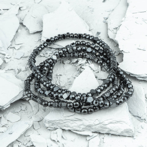 Karma - Beaded Hematite Stack - Executive Society (Beaded, leather, stainless, mens, bracelet)