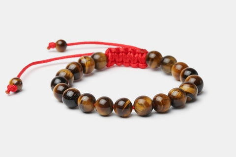 Tiger's Eye w/ Red Cord // Beaded Bracelet - Executive Society (Beaded, leather, stainless, mens, bracelet)