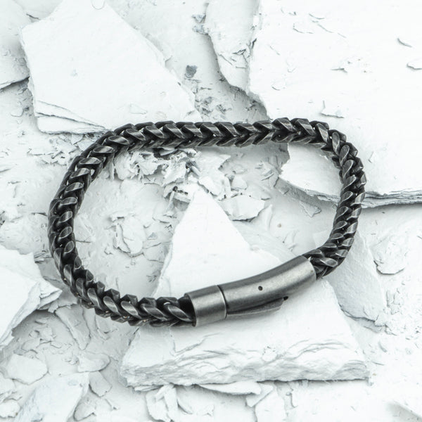 Revival // Weathered Stainless - Executive Society (Beaded, leather, stainless, mens, bracelet)