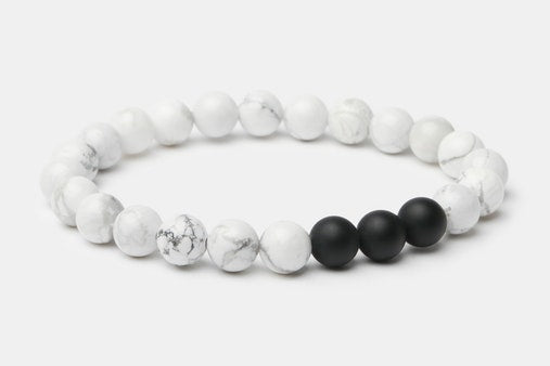 Onyx/White Howlite // Beaded Bracelet - Executive Society (Beaded, leather, stainless, mens, bracelet)