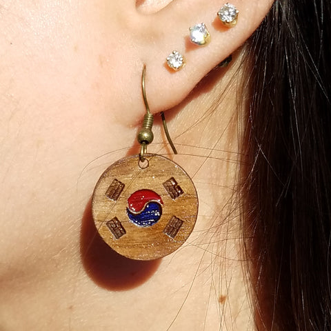 Korean Flag Wooden Earrings